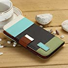 myLife Army Green + Sky Blue {Stripe Design} Faux Leather (Card