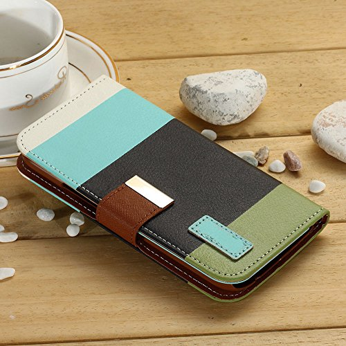 Mylife (Tm) Army Green + Sky Blue {Stripe Design} Faux Leather (Card, Cash And Id Holder + Magnetic Closing) Slim Wallet For The All-New Htc One M8 Android Smartphone - Aka, 2Nd Gen Htc One (External Textured Synthetic Leather With Magnetic Clip + Interna