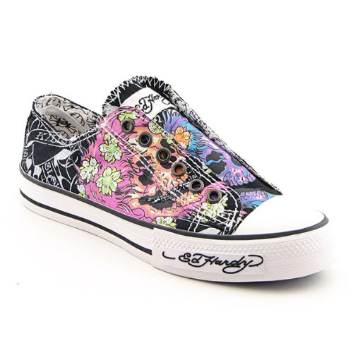 Ed Hardy 19SLR108W Lowrise Stencil Sneakers Shoes Black