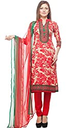 Divyaemporio Women'S Faux Cotton Red And Beige Salwar Suits Dress Material