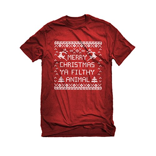 [Mens Merry Christmas Ya Filthy Animal T-Shirt Red Medium] (Mafia Themed Costume)