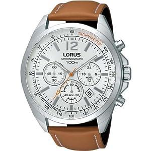 Lorus Chronograph Silver Dial Tan Leather Strap Gents Watch RT385CX9