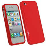 IGadgitz Red Glossy Durable Crystal Gel Skin (Thermoplastic Polyurethane TPU) Case Cover for Apple iPhone 4S 16GB 32GB 64GB + Screen Protector
