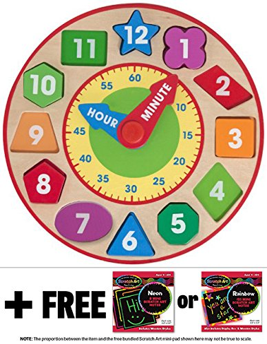 Shape Sorting Clock + FREE Melissa & Doug Scratch Art Mini-Pad Bundle [85939] - 1