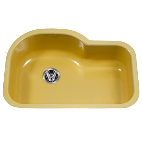 Houzer PCH-3700 LE Porcela Series Porcelain Enamel Steel Undermount Offset Single Bowl Kitchen Sink, Lemon