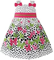 Girls Dress Butterfly Print Dot Green Party Child Clothing Size 4-5