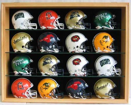 16 Riddell Mini Football Helmet Display Case Shadow Box Cabinet, UV Protection Door, MH01B-OA at Amazon.com