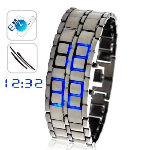 Chiworld Exquisite Blue Led Digital Watch With Stainless Steel Bracelet / Wrist Watch Lw-Lw001028