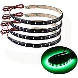 4 X Bande Eclairage Flexible Lampe 15 LEDs 30cm 12V Etanche Vert