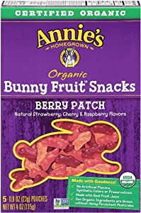 Annie's Homegrown Fruit Snacks, Berry Bunny, (5 Count, 0.8 Oz Each)
