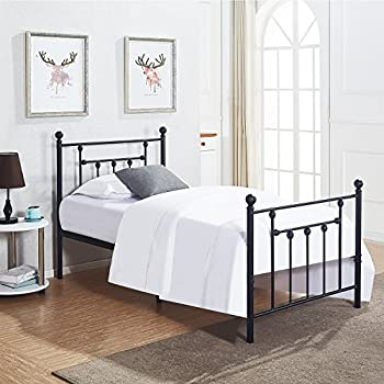 VECELO Twin Size Bed Frame, Metal Platform Mattress Foundation/Box Spring Replacement with Headboard Victorian Style