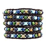 5 Row Multi Color Freshwater Cultured Pearl Beaded Wrap Around Bracelet