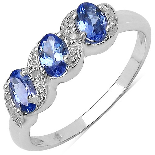 The Tanzanite Ring Collection: Ladies Sterling Silver Tanzanite & Diamond Engagement Ring with 0.77 Carats Genuine Tanzanite set with 4 Diamonds. Comes in a Quality Ring Case for that Special Gift.