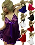 Yummy Bee Sexy Lingerie Embroidered Babydoll Thong Set + Lace Top Stockings Plus Size 8 - 26