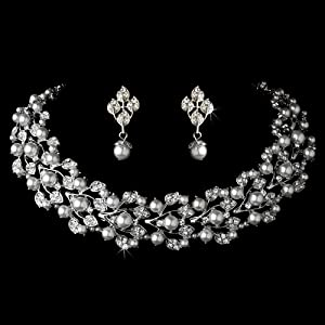 Bridal Wedding Jewelry Set Rhinestone Pearl Leaf White