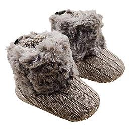 DDLBiz Baby Girls Knit Soft Fur Winter Warm Snow Boots Crib Shoes 0-18 Months (0-6 Months, Brown)