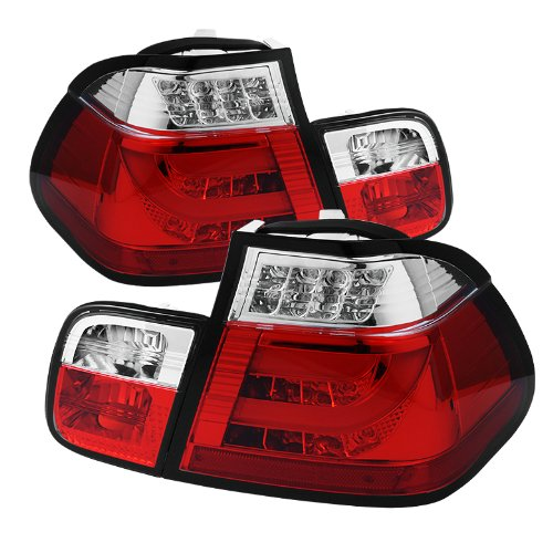 Spyder Auto Alt-Yd-Be4602-4D-Lbled-Rc Bmw E46 3-Series 4-Door Red/Clear Light Bar Style Led Tail Light