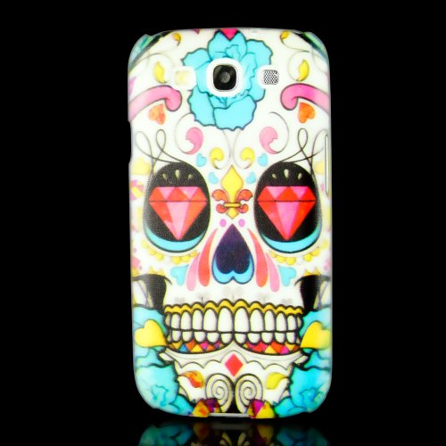Cool Snap On Case Back Cover Lovely Skull & Blue Pink Flowers For Samsung Galaxy S3 I9300 Siii With Free Lcd Film & Touch Pen