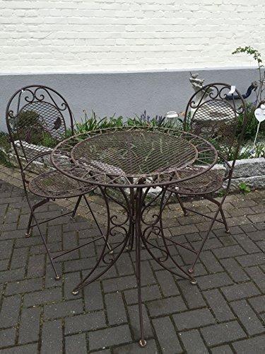 Gartenmöbel Sitzgruppe Garnitur Balkon Set Metall Tisch 2 Stühle Shabby Braun