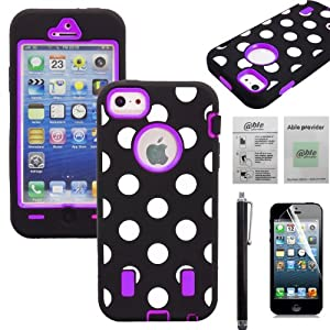 APT® Polka Dot Defender Body Rugged Armor High Impact Extreme Heavy Duty Hybrid Case Cover for iPhone (Purple, iphone 5)