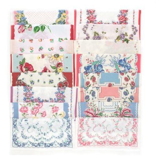 Set of 16 Vintage Reproduction Cloth Handkerchiefs Hankies Gift Set