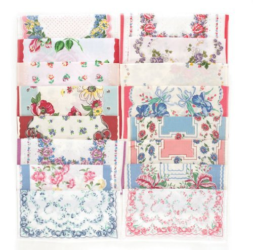 Set of 16 Vintage Reproduction Cloth Handkerchiefs Hankies Gift Set 0