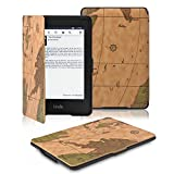 """OMOTON (TM) The thinnest and lightest PU leather cover case for Kindle Paperwhite--2012 Kindle Paperwhite and 2013 the all-new Kindle Paperwhite with 6"""" Display and Built-in Light Tablet (For Kindle Paperwhite, Brown Map Pattern)"""