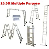 QuestCraft 15.5 Ft Multi Purpose Aluminum Folding Step Platform Scaffold Ladder 330LB 15.5'