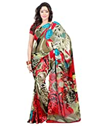 Admyrin Multi Colour Georgette Printed Saree With Blouse Piece - B00YTXURA2