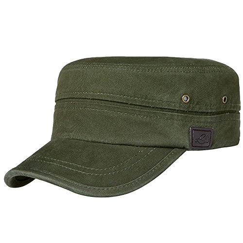 Men's Cotton Flat Top Peaked Baseball Twill Army Millitary Corps Hat Cap Visor (Peaked Cap Women compare prices)