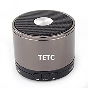 TETC Wireless Mini Bluetooth speaker HiFi Audio player with MIC For iPhone 5 ipad 3 Ipad 4 smart phone with Rechargeable Battery and Enhanced Bass Resonato (L-gray)+ one 8G Card + one Card Reader by TETC