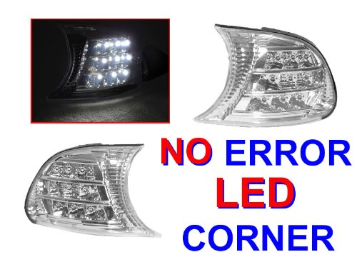 A Pair Of Depo Clear Lense Chrome Housing Corner Signal Light With White Led - Bmw 3-Series E46 2Dr 2002-2003