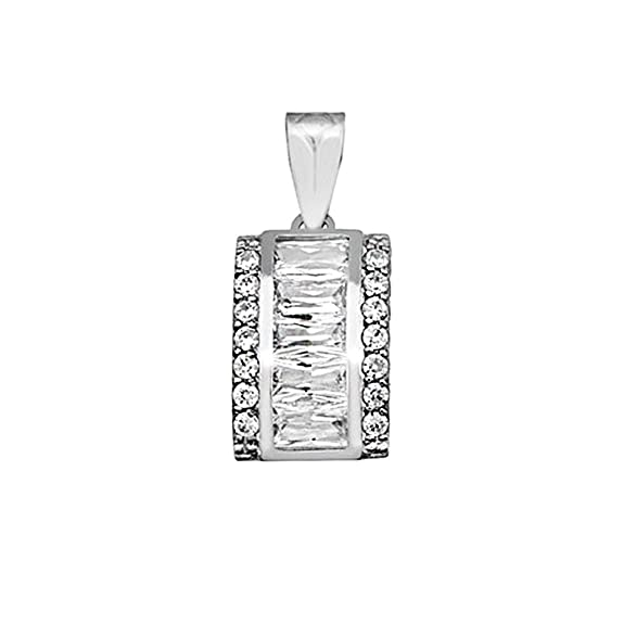 18k white gold pendant zircons baguette 6x3mm center. [AA4575]