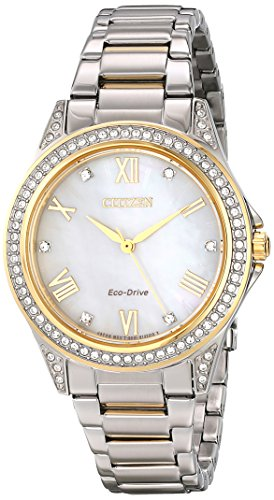 """Citizen Women'S Em0234-59D """"Eco-Drive"""" Two-Tone Watch With Crystal-Accented Bezel"""