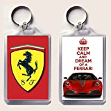 KEEP CALM and DREAM of A FERRARI keyring printed on an image of a red Ferrari F430 on one side and the iconic Ferrari rampant horse badge on the other, from our Keep Calm and Carry On series - an original