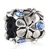 925 sterling silver Daisy Blue Austrian Crystal Charm Bead fits Pandora Troll Biagi Chamilia