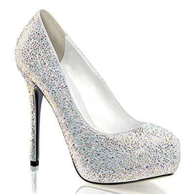 5 Inch Rhinestone Peep Toe Pumps Concealed Platform Glamour Shoes Size: 5 Colors: White