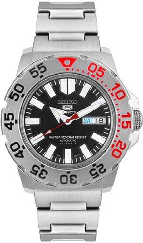 Men Seiko SNZF47 Seiko 5 Stainless Steel Seiko 5 Automatic Black Dial
