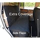 """Deluxe Quilted and Padded seat cover with Non-Slip Fabric in Seat Area for Pets - One Size Fits All 56""""Wx94""""L Black"""