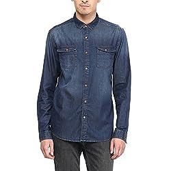SF Jeans by Pantaloons Men's Cotton Shirt Blue Tint_S