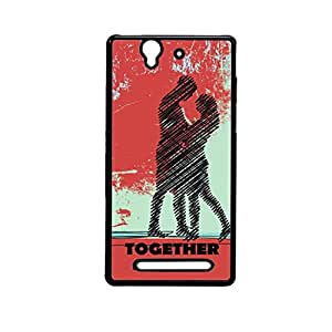 Vibhar printed case back cover for Sony Xperia C3 Couple