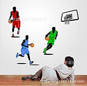 Tarmader Three People Playing Basketball Wall Mural Decal Decor Sticker
