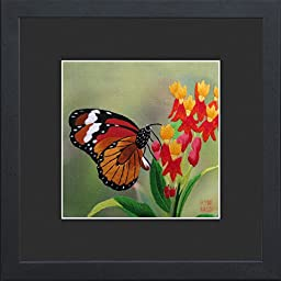 King Silk Art 100% Handmade Embroidery Framed Brown Monarch Butterfly Resting On Red Flower Oriental Wall Hanging Art Asian Decoration Tapestry Artwork Picture Gifts 33024BFB1