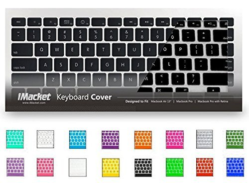 "iMacket - Keyboard Cover Silicone Skin for MacBook Pro 13"" 15"" 17"" (with or w/out Retina Display) MacBook Air 13"" and iMac Wireless Apple Keyboard (Black)"