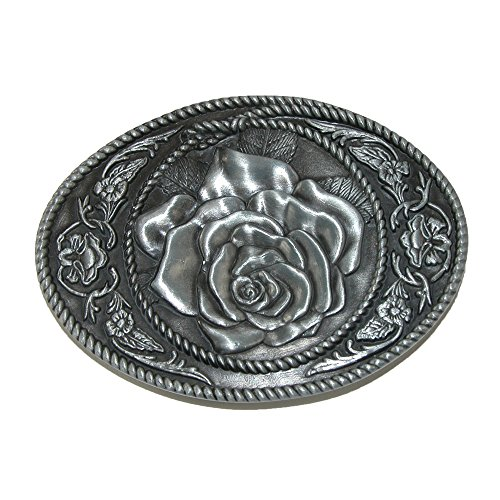 CTM® Womens Western Rose Belt Buckle, Silver