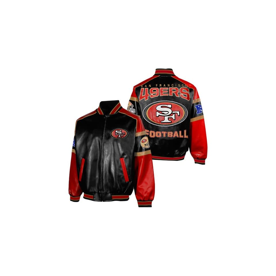 NFL San Francisco 49Ers Mens Post Game Pleather Jacket, Red, Medium