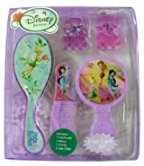 Disney Fairies Hair Care Set - 5pcs Tinker Bell Hair Brush and Accessories