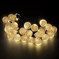 LED Concepts® Solar LED Crystal Ball Style String Lights -19.7 ft with 30 LED Crystal Ball Lights - 2 Mode Setting - Lighting for Gazebos, Patio Lighting, Parties, Weddings, and Other Outdoor Décor