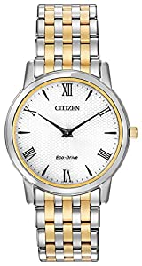 Citizen Watch Stiletto Men's Quartz Watch with White Dial Analogue Display and Two Tone Stainless Steel Bracelet AR1128-58A