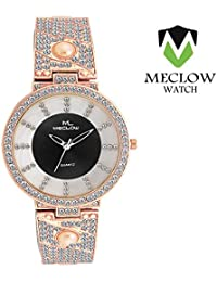 LATEST DESIGN ROSE GOLD METAL STRAP WATCH, ROUND DIAMOND BEADED BLACK DIAL ANALOG GIRL WATCH